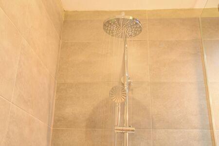 modern shower stall in the bathroom. home interior design Imagens