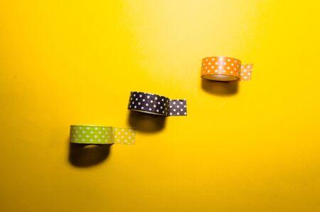 three isolated colorful washi tapes. Feminine stationery