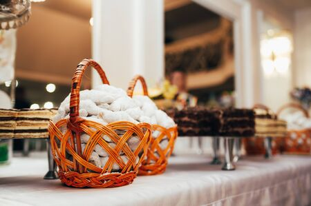 candy bar table. sweets with powdered sugar in a bowl