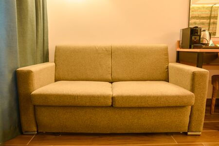 yellow sofa in hall. house living room design