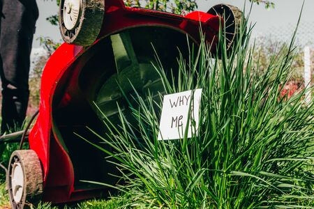 top view of electric lawn mower cutting a bush with a sign why me Stock fotó - 138272479