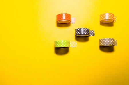 isolated colorful dotted washi tapes. Feminine stationery