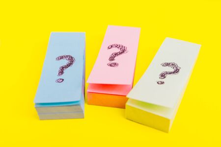 question marks posters.  written reminders tickets Stock Photo