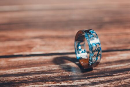 magical ring with blue stains. an old antique. family ring