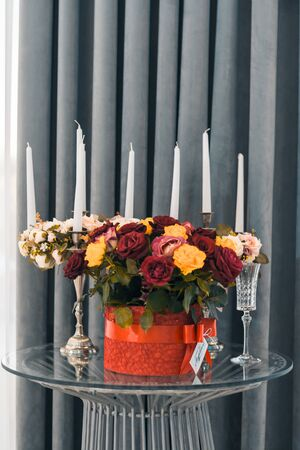 wedding decoration in beautiful restaurant . different candles and flowers