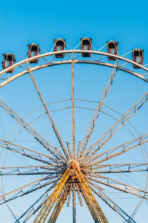 close up of ferris wheel attraction in  amussement park of Odessa, Ukraine .