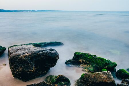 view of sea with big rocks . travel concept . 스톡 콘텐츠