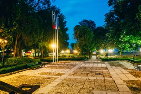 hotel in bulgaria with park at night 스톡 콘텐츠