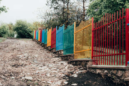 colored fence in kindergarten or in the kids camp