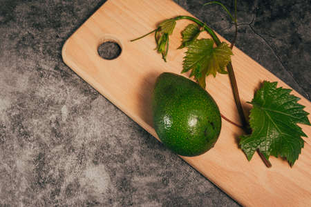 avocado on a cutting board and leaves .