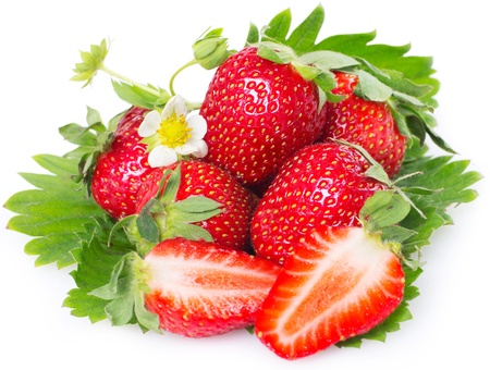 fresh strawberry with leaves isolated on white background Stock Photo