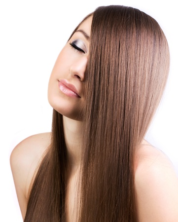 silky hair: beautiful girl with healthy long hair,close-up Stock Photo