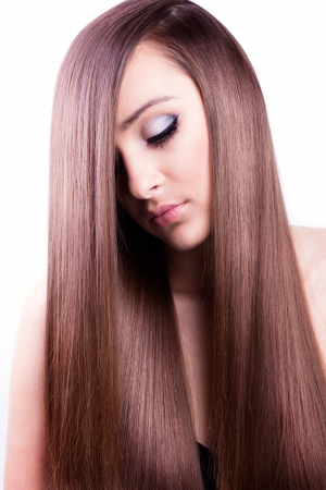 long silky hair: beautiful woman with natural long hair