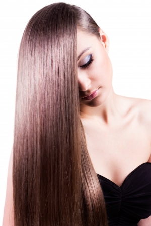 silky hair: beautiful woman with natural long hair