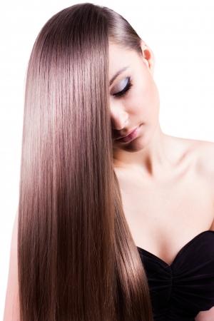silky: beautiful woman with natural long hair