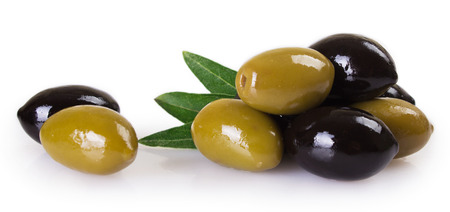 green and black olives isolated on white background