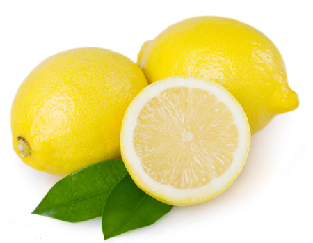 fresh lemon with leaves isolated on white background