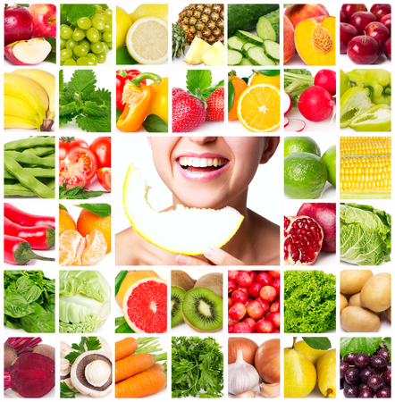 colorful collage of healthy food
