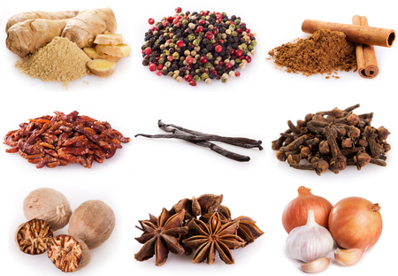 collection of spices isolated on white background