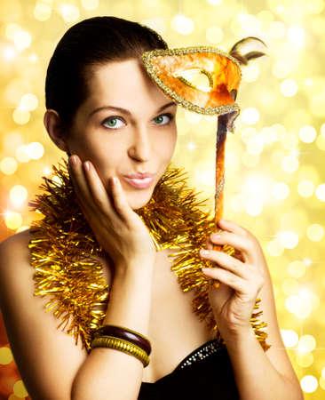 single beautiful woman with carnival mask