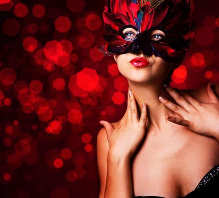 single beautiful woman in carnival mask