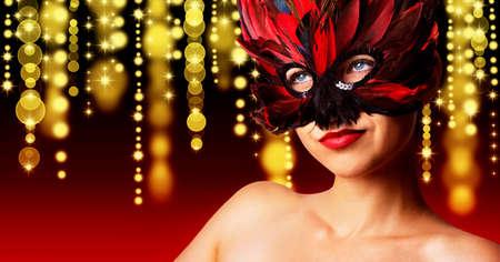 single beautiful woman in carnival mask Stock fotó - 150640718