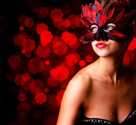 single beautiful woman in carnival mask Stock fotó - 150640721