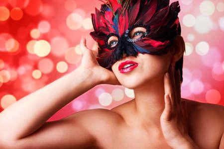 Single beautiful woman in carnival mask Stock fotó - 150640724