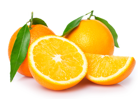 fresh oranges isolated on white background