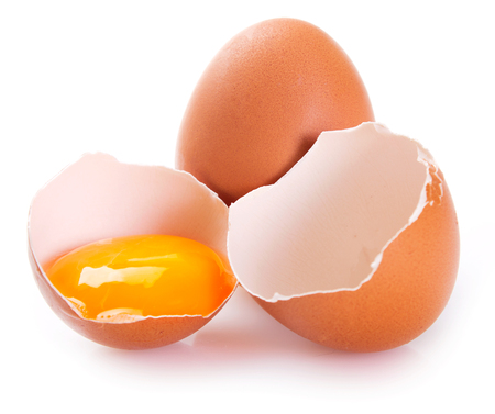 raw eggs isolated on white background Stock Photo