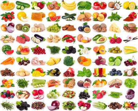 collection of healthy food isolated on white background Banco de Imagens