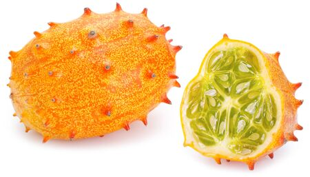horned melon or kiwano isolated on white background 免版税图像
