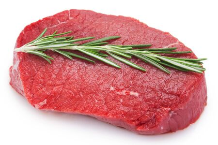 raw beef steak isolated on white background