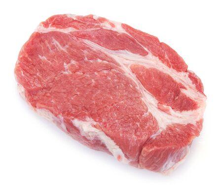 Carne de cerdo cruda aislado sobre fondo blanco. Foto de archivo