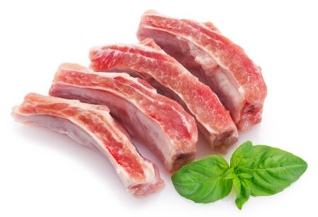 raw pork ribs isolated on white background Stockfoto
