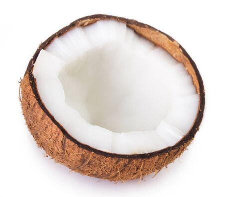 Kokosnuss lokalisiert auf weißem Hintergrund Standard-Bild
