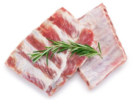 raw pork ribs isolated on white background 스톡 콘텐츠