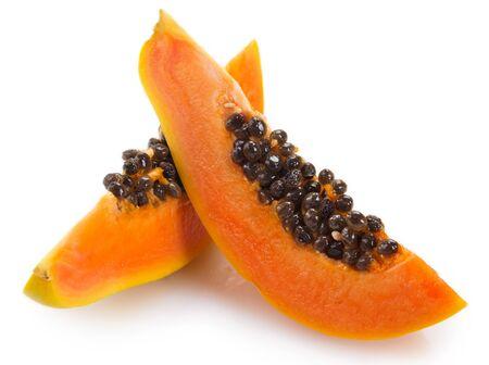 fresh papaya isolated on white background Archivio Fotografico