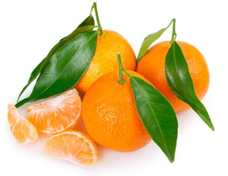 fresh mandarin isolated on white background closeup