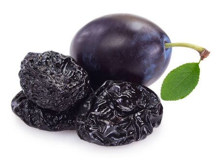fresh plums with prunes isolated on white background Archivio Fotografico