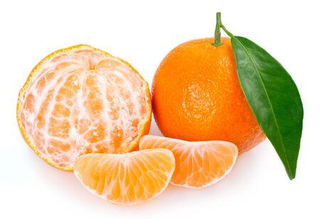 fresh mandarin isolated on white background closeup