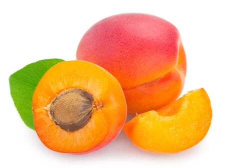 fresh apricot isolated on white background closeup
