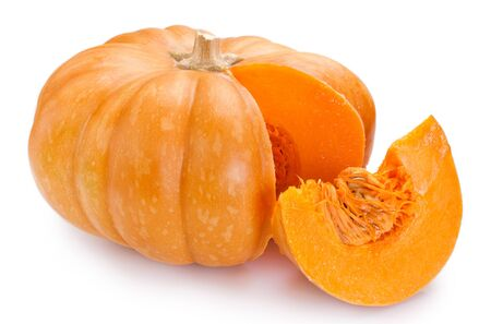 fresh pumpkin isolated on white background closeup 版權商用圖片