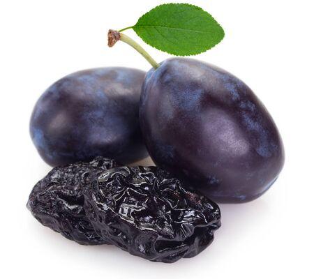 fresh plums with prunes isolated on white background Zdjęcie Seryjne