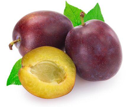 fresh plum isolated on white background closeup