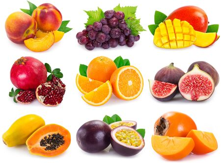 collection of fresh fruits isolated on white background. fruit collage. Imagens