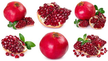 collection of fresh pomegranate isolated on white background closeup