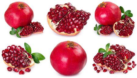 Sammlung von frischem Granatapfel isoliert auf weißem Hintergrund closeup