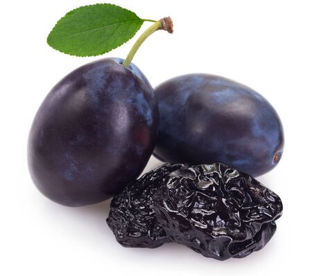 fresh plums with prunes isolated on white background