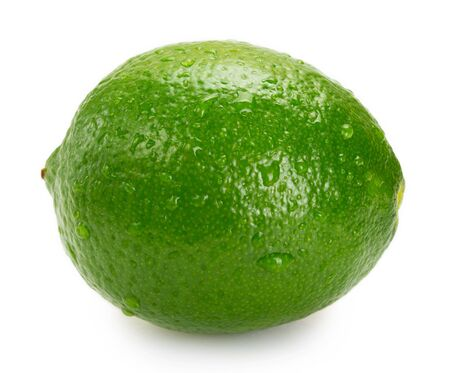 fresh lime isolated on white background closeup